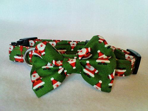 Green Santa Bow Collar