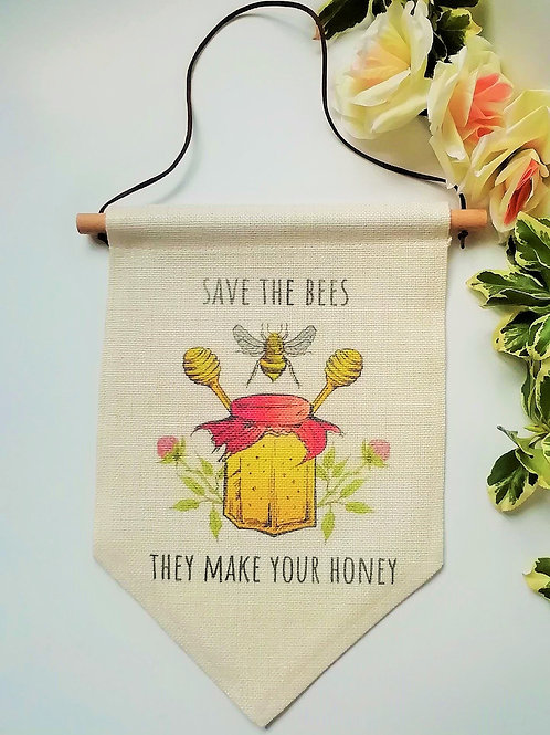 Save The Bees Flag Banner Hanger Decoration