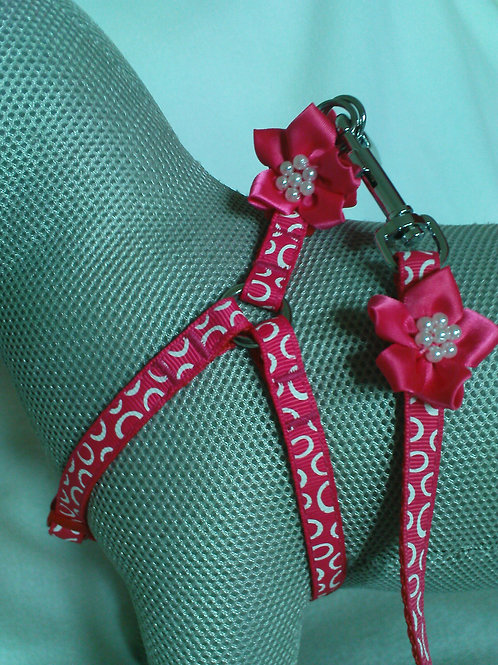 Cerise Pink Flower Harness & Lead