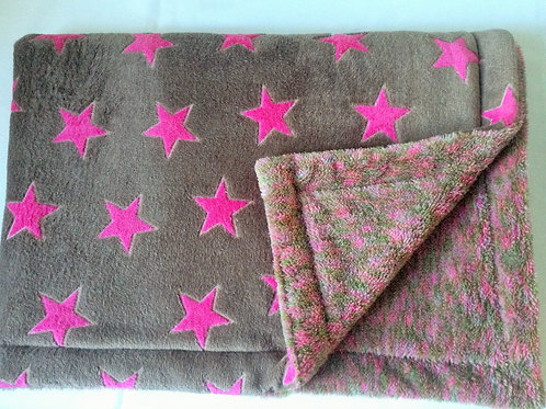 Pink Stars on Taupe