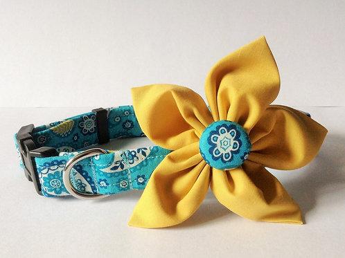 Blue Paisley Flower Collar