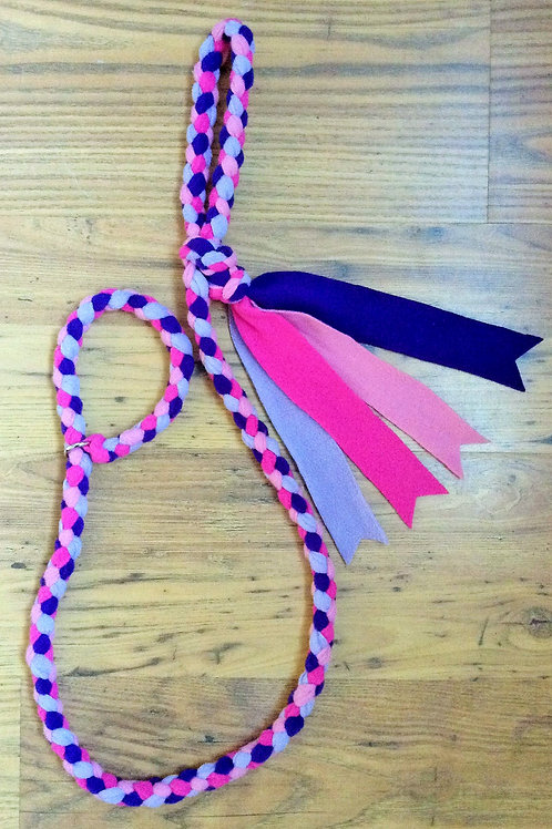 Pink Purple Lilac Braided Fleece Dog Lead
