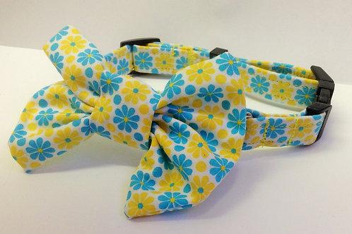Mini Yellow & Turquoise Daisy Bow Collar