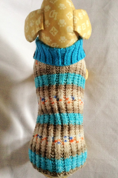 New Blue Brown Hand Knitted Jumper