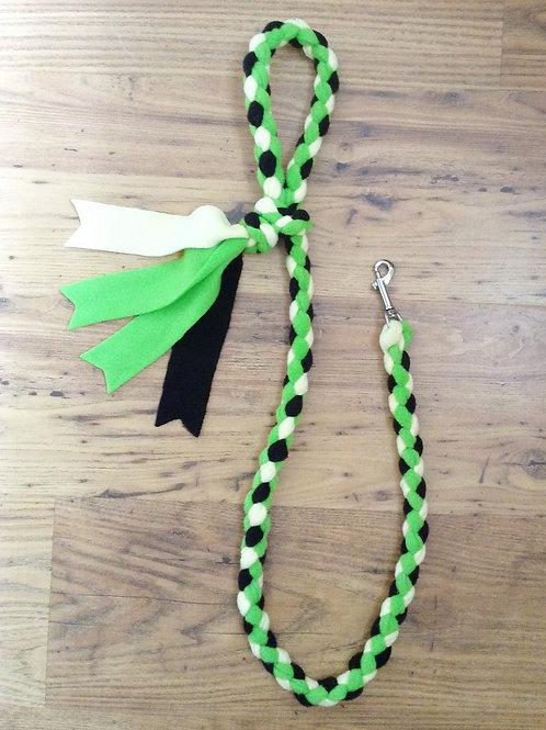 Lime, Black & Lemon Braided Fleece Dog Lead