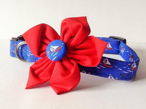 Blue Sailboats Flower Collar
