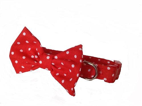 Red Polkadot Bow Collar