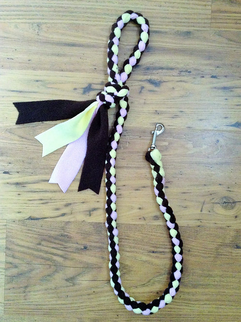 Brown, Baby Pink & Lemon Braided Fleece Dog Lead