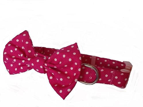 Cerise Polkadot Bow Collar
