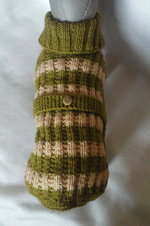 Olive & Cream Hand Knitted Jumper