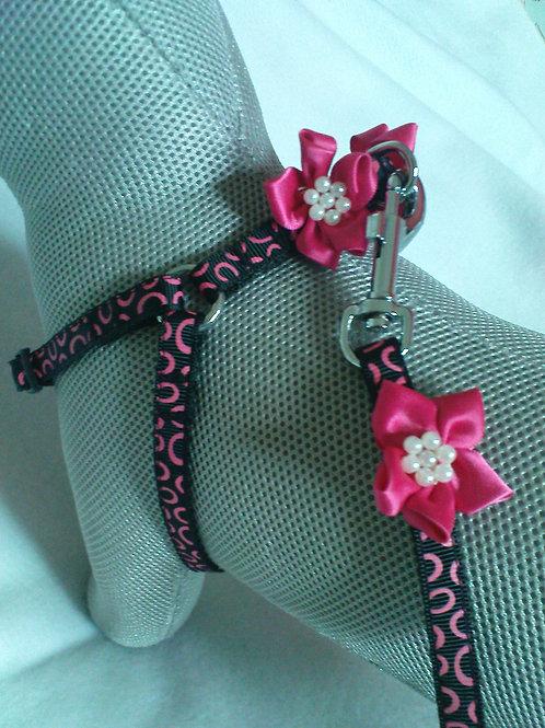 Black & Cerise Flower Harness & Lead