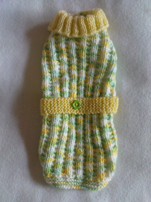 Green & Yellow Hand Knitted Jumper