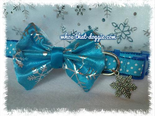 Blue Frozen Bow Collar