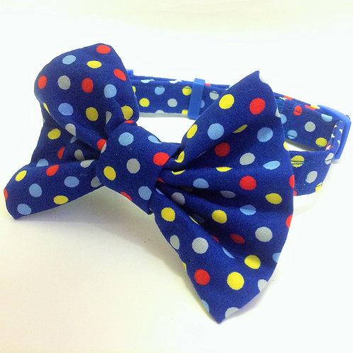 Royal Blue Spots Print Bow Collar