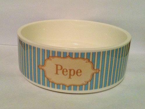 Vintage Stripe Dog Bowl