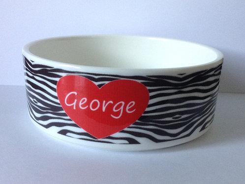 Zebra Dog Bowl