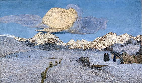 """סגנטיני, """"מוות"""", טריפטיך אנגנדינה, שמן על בד, מוזיאון סנט מוריץ."""