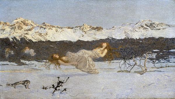 """סגנטיני, העונש של אחוזות התאווה, 1891, שמן על בד, 99X173 ס""""מ, גלריית וולקר, ליברפול."""