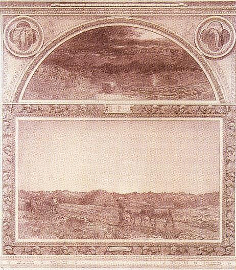 """סגנטיני, """"הטבע"""", טריפטיך אנגנדינה, עיפרון על נייר, מוזיאון סנט מוריץ."""