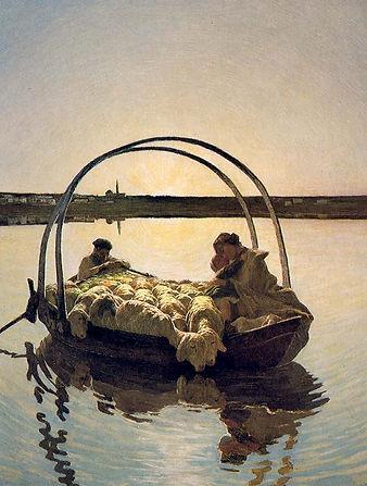 """סגנטיני, אווה מריה במעבר (גרסה שניה), 1886–1888, שמן על בד, 93X120 ס""""מ. אוסף פישבאכר, סנט גאלו."""