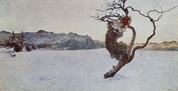 """סגנטיני, """"האימהות הרעות"""", 1894, שמן על בד, 120X225 ס""""מ, מוזיאון קונסטהיסטורישה, הגלריה החדשה בסטאלבורג, וינה."""