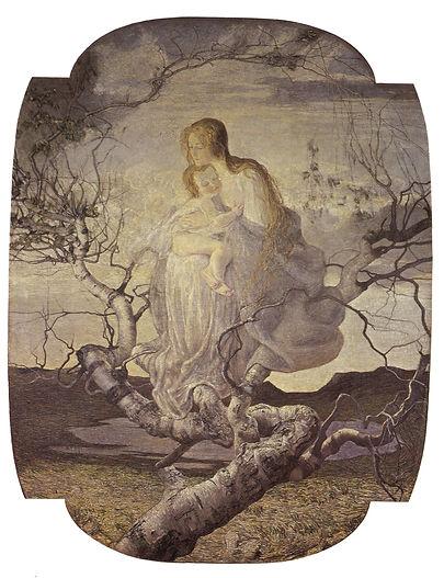"""סגנטיני, מלאך החיים, 1894, שמן  על בד, 276X212 ס""""מ, הגלריה לאומנות, מילאנו."""