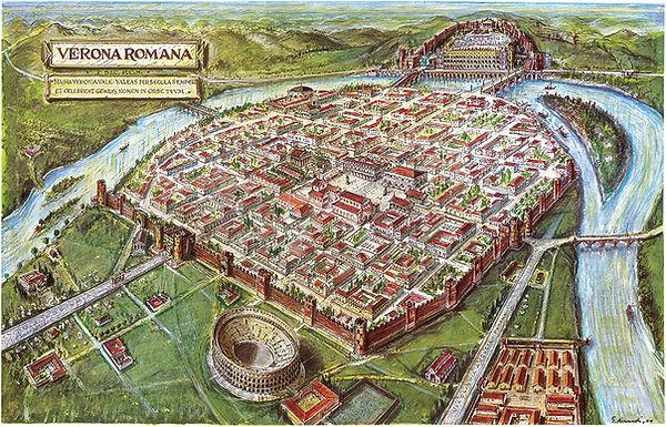 מפת ורונה בתקופה הרומית