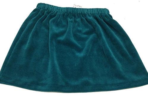 Velours rok, blauw/groen