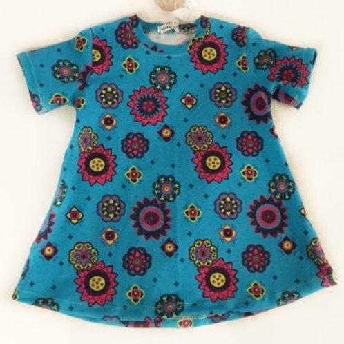 jurk, blauw+bloemen