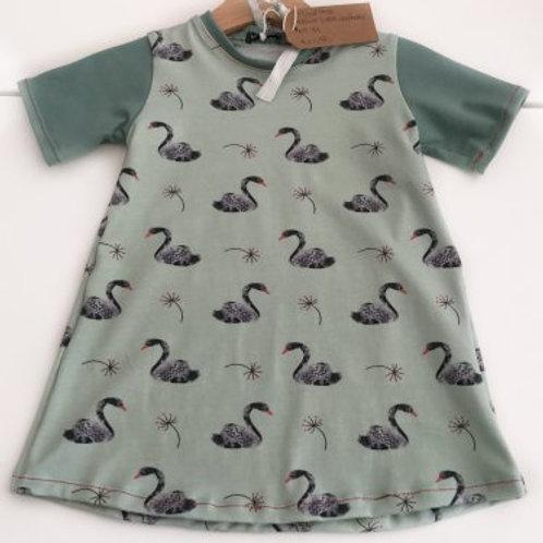 tricot jurk, zwanen