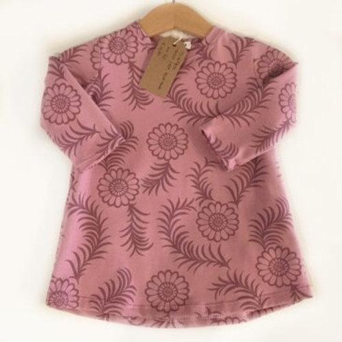 Tricot jurk, roze+bloemen