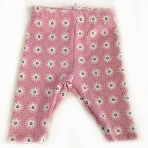 Tricot legging, roze+bloemen