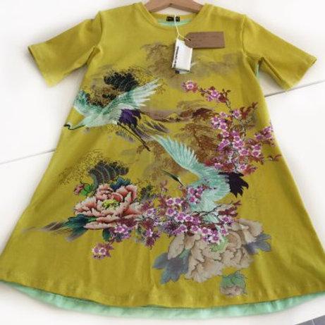Tricot jurk, vogels