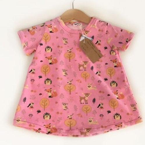 Tricot jurk, roze+dieren