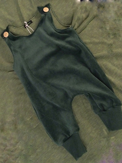 Jumpsuit, groen velours
