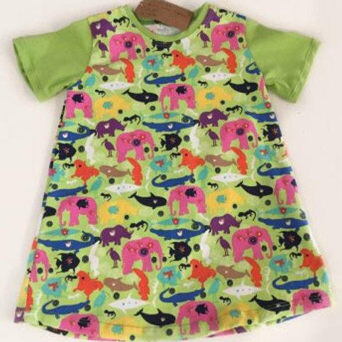 Tricot jurk, groen+dieren