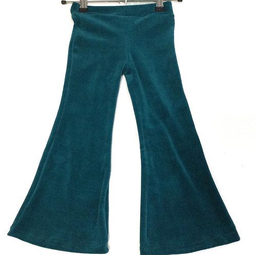Flared legging, blauw/groen velours