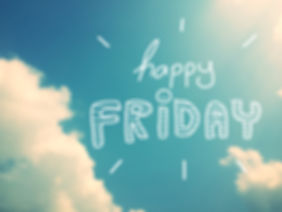 Happy Friday word on beautiful blue clou