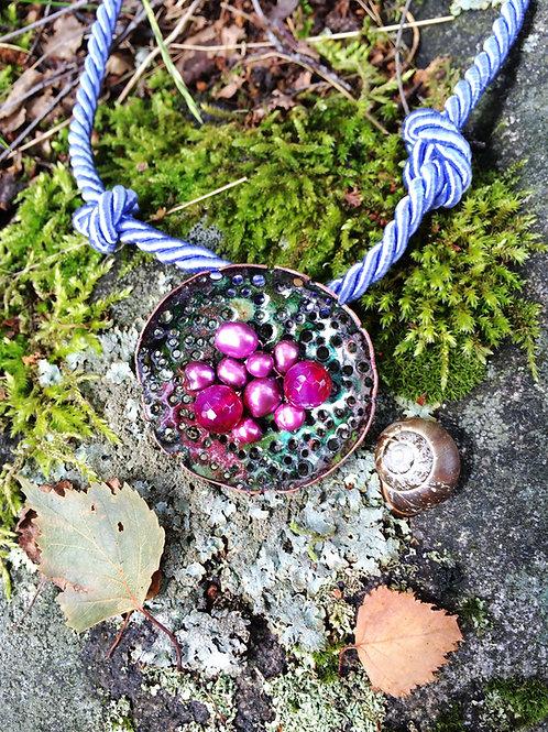 'SWEDISH SUMMER MUSHROOM' enamel pendant necklace