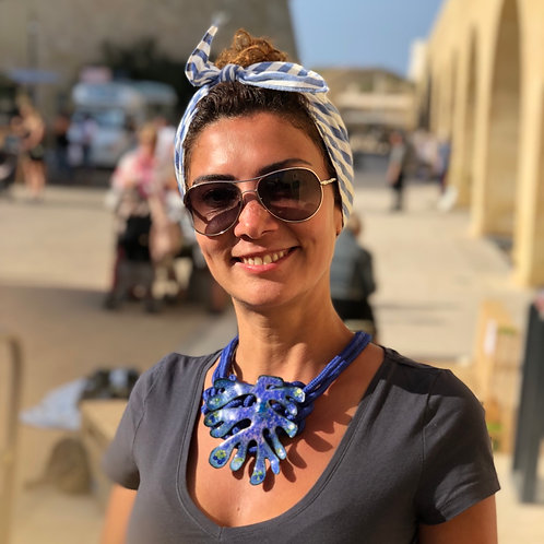 'PRUSSIAN BLUE SEAWEED' enamel necklace