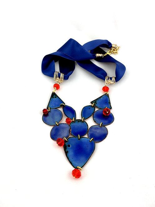 'EMPRESS OF THE  SEAS' deep blue enamel necklace