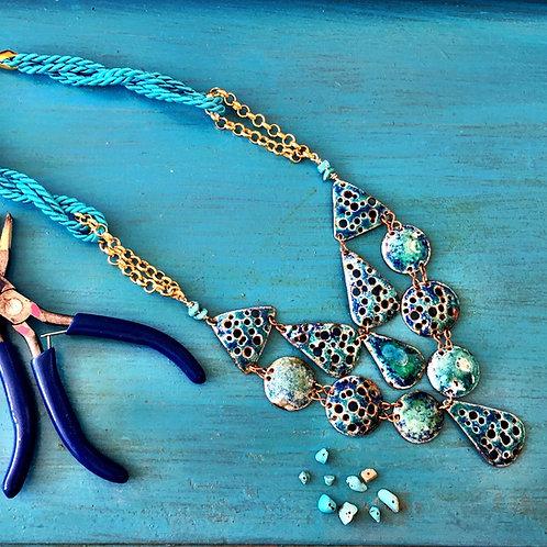 'SEA URCHIN' enamel necklace
