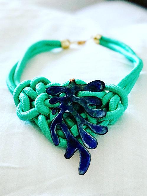 'SEA GREEN SEAWEED' enamel necklace
