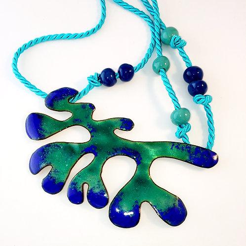 'SEA FOAM GREEN SEAWEED' enamel bib necklace