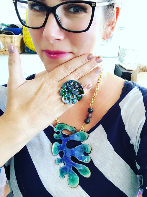 'SEA GREEN AND DEEP BLUE CORAL' enamel pendant