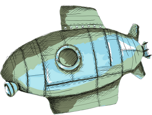 A sbmarine with an octopus riding as it floats through space.