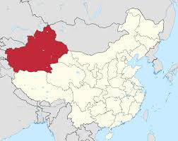 Xinjiang (highlighted) contains the greatest concentration of Muslims in China