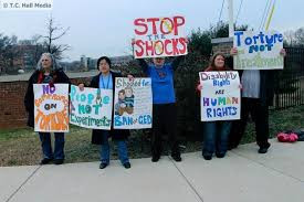 Protestors outside the JRC