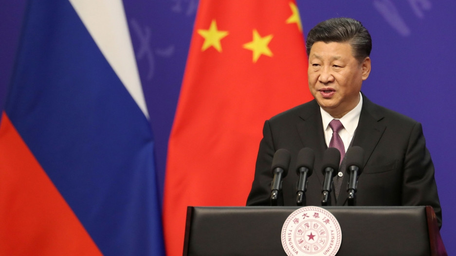 President Xi speaking about China's Belt & Road Initiative