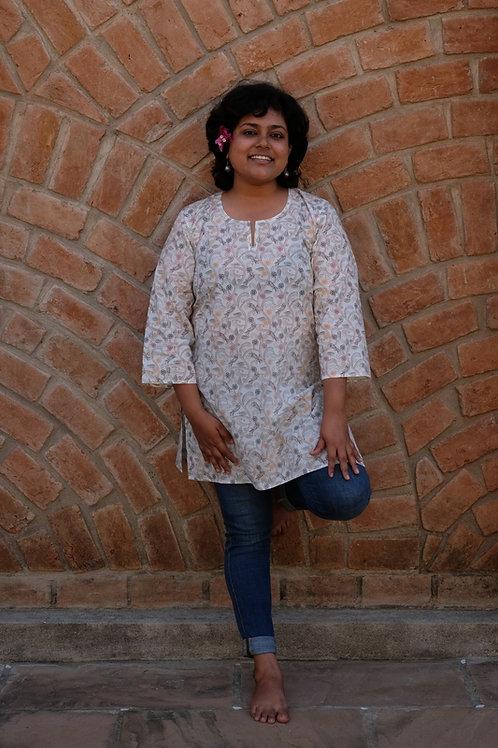 Kantha Floral Print Short Kurta